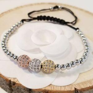NEW Tri Tone Spheres Pave CZ Bracelet